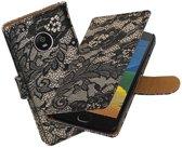 BestCases.nl Motorola Moto G5 Lace booktype hoesje Zwart