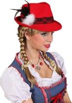 Rood Tiroler hoedje met kant