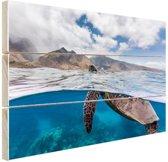 Schildpad bij eiland Hout 120x80 cm - Foto print op Hout (Wanddecoratie)