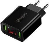 DrPhone - Thuislader 2 poorten USB-oplader 2.2A Smart Fast Charge Lader met LED-display real-time status van stroom en spanning & ingebouwde smart chip voor veilig opladen - Geschikt voor Apple iPhone / Samsung Galaxy / LG / HUAWEI/Sony Xperia etc