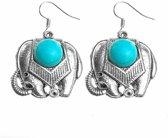 Fako Bijoux® - Oorbellen - Tibetaanse Stijl - Turquoise - Olifant