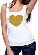 Gouden hart glitter tekst tanktop / mouwloos shirt wit dames - dames singlet Gouden hart S