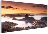 Zonsondergang Rio de Janeiro Glas 90x60 cm - Foto print op Glas (Plexiglas wanddecoratie)