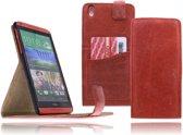 Devills HTC Desire 816 Lederen Flip Case Cover Hoesje Brick Red