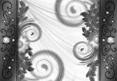 Fotobehang Abstract Vintage Pattern Black White | M - 104cm x 70.5cm | 130g/m2 Vlies