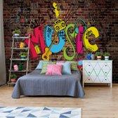Fotobehang Music Graffiti Brick Wall | VEXXL - 312cm x 219cm | 130gr/m2 Vlies