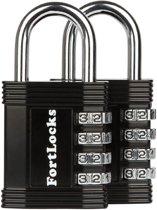 Fortlocks Cijferslot 4 Cijferig - Sterk Hangslot Met Cijfer Sluiting - Combinatie Code Padlock - Weerbestendig Buiten Slot - Fiets - Zwart - 2 Stuks