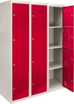 3x Lockers – Lockerkast metaal – locker kledingkast – Rood - 4 Deurs – lockerkastje - Flatpack