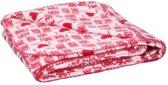 Fleece plaid deken wit met rode hartjes 120 x 160 cm