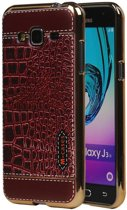 Wicked Narwal | M-Cases Croco Design backcover hoes voor Samsung Galaxy J3 J300 Rood