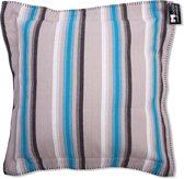In The Mood Sierkussen Raw Stripes - 50x50 cm - Aqua/Antraciet