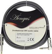Áengus Silver Tweed Gitaarkabel - instrumentkabel 3 meter - 6.35mm mono jack plug haaks/recht - zilv