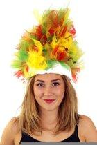 Fur hoed rood/geel/groen opgemaakt inclusief verlichting