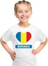 Roemenie kinder t-shirt met Roemeense vlag in hart wit jongens en meisjes S (122-128)