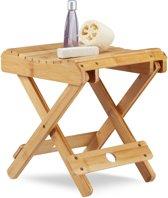 relaxdays bamboe kruk - kinderkruk voetenbank - badkamerkruk - klein krukje hout - naturel