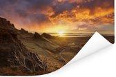 Zonsondergang achter de bergen op het eiland Skye in Schotland Poster 180x120 cm - Foto print op Poster (wanddecoratie woonkamer / slaapkamer) XXL / Groot formaat!