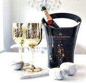 Moët & Chandon Ice Imperial Bucket Zwart inclusief 2 Gouden Glazen - Luxe Wijnkoeler / IJsemmer en Goud Champagneglas 2x - Limited Edition