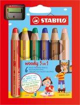 STABILO Woody 3 in 1 Kleurpotloden - Etui 6 Stuks + Puntenslijper