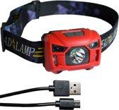 Hoofdlamp LED oplaadbaar | waterdicht | accu 1200mAh | rood | KMHL010