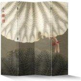Fine Asianliving Kamerscherm Scheidingswand 4 Panelen Vintage Rode Libelle
