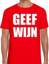 Geef Wijn heren shirt rood - Heren feest t-shirts 2XL