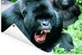 Een gapende Gorilla in een groene omgeving Tuinposter 90x60 cm - Tuindoek / Buitencanvas / Schilderijen voor buiten (tuin decoratie)