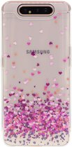 Shop4 - Samsung Galaxy A80 Hoesje - Zachte Back Case Hartjes Paars