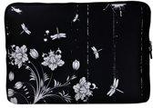 Laptop Sleeve met bloemen tot 15.4 inch – Zwart/Wit