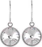 Oorbel hanger glanzend zilver kleur, met 10 mm Swarovski Elements crystal steen