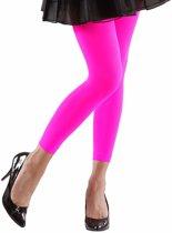 Neon roze legging voor dames OS (S/M)