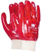 Pvc handschoen rood gesloten rug, Cat.2