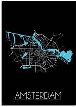 Plattegrond Amsterdam Stadskaart poster DesignClaud - Zwart - A2 poster