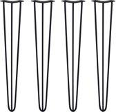4 x 71cm Hairpin retro pootjes tafelpoten pinpoten - 3 Ledig - 10mm - Zwart