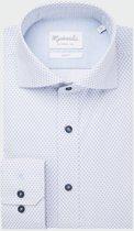 Michaelis Slim Fit overhemd - blauw met wit dessin - boordmaat 42