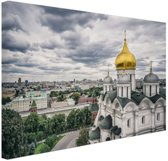 Kremlin van Moskou Canvas 60x40 cm - Foto print op Canvas schilderij (Wanddecoratie woonkamer / slaapkamer) / Steden Canvas Schilderijen