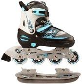 Combo junior inline skate/schaats - semi/softboot - zwart/grijs - maat 35-38