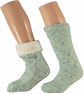 Mint groene dames huissokken - maat 36-41 - slofsokken / antislip sokken