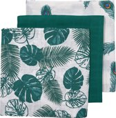 Meyco 3-pack luiers Tropical leaves-Uni emerald green-Peacock