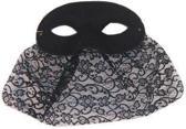 Oogmasker domino zwart met kanten doekje