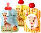 Squiz hervulbare knijpzakjes Sophie de giraf (3 stuks + 1 silicone top)