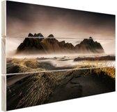 Noors berggebied en fjorden Hout 60x40 cm - Foto print op Hout (Wanddecoratie)
