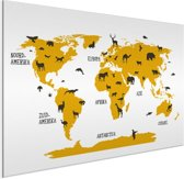 Wereldkaart Kinder kamer Aluminium Schilderij Dieren 80x60 cm | Wereldkaart Wanddecoratie Aluminium