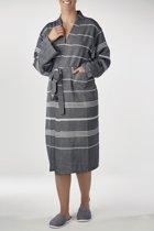 Hamam Badjas Costa Black - unisex maat L - hotelkwaliteit- dames/heren/unisex - dunne badjas - luxe badjas - sauna badjas - kimono badjas - badjas met badstof - ochtendjas - duster - reisbadjas - badmantel
