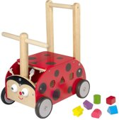 I'm Toy -  Houten Loopwagen met blokken - Lieveheersbeestje