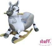 Steff schommelpaard hobbelpaard - zebra - wit/grijs - 1 tot 4 jaar - met veiligheidsriempje