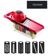 6-in-1 Keuken Mandoline - Keukenrasp - Gratis Knoflook Rasp - Groentensnijder - Snijmachine - Groente Schaaf - Modern Design - Rood