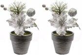 2x Kerstster kunstbloemen in bloempot zilver