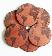 Wereldbol Onderzetters hout 6 stuks - Onderzetters