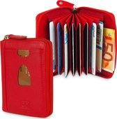 Rood Creditcard Mapje met Rits - Creditcardhouder - 12 Pasjes - Waaier - Leer - RFID