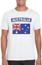 Australie t-shirt met Australische vlag wit heren 2XL
